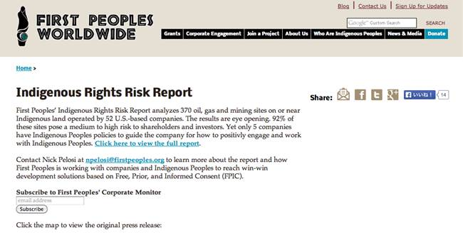 Indigenous Rights Risk Report