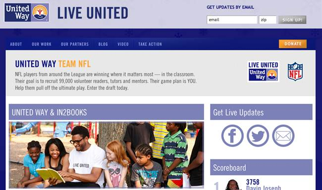 eMentoring literacy program to United Way TEAM NFL