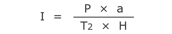 I = P * a / T2 * H