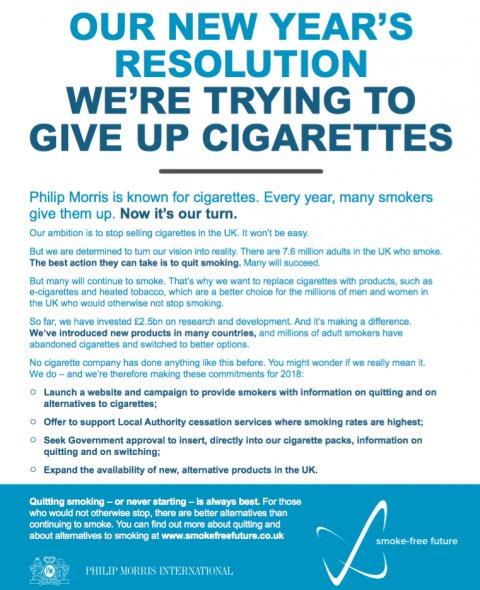【イギリス】フィリップモリス、消費者に全面禁煙を呼びかける新聞全面広告を掲載 2