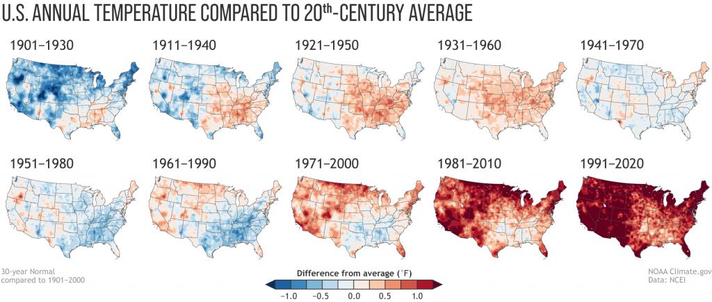 【アメリカ】海洋大気庁、米国の10年トレンドの気温上昇結果発表。明らかな気候変動の兆候 2